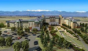 "An artist's rendition of the proposed Gaylord Entertainment hotel complex near Denver International Airport. The company announced May 31 that it ""will not proceed with the Colorado project in the form previously anticipated."""