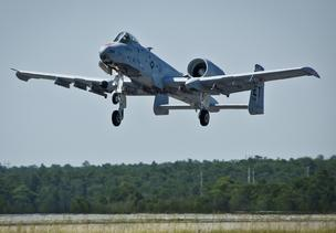 An Air Force A-10 Thunder Bolt jet using Alcohol to Jet (ATJ) fuel provided by Colorado's Gevo takes off from Eglin Air Force  Base in Florida on June 28. (Photo: Samuel King Jr./U.S. Air Force.)