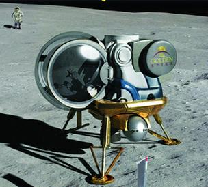 An artist's rendering shows what a Golden Spike Co. lander might look like on the lunar surface.