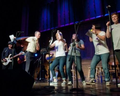 Gov. John Hickenlooper and the Hick-Tones perform at a past Gridiron show.