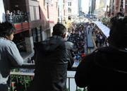 Part of the line watches the front of the line at H&M's grand opening in Denver Pavilions Thursday.