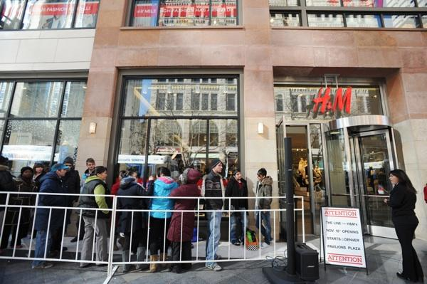 The line to get into H&M's grand opening in Denver Pavilions Thursday, Nov. 10, wrapped around the shopping center.