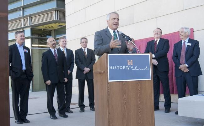 Former Colorado Gov. Bill Ritter addresses a crowd gathered at the new History Colorado Center in Denver on Friday, Oct. 7, for a dedication event. Also on hand, from left: Current Gov. John Hickenlooper; Lt. Gov. Joe Garcia; David Tryba, founding principal at Tryba Architects; Bill Mosher, principal and area director for Trammell Crow Co.y; Jerry Morgensen, chairman emeritus at Hensel Phelps Construction Co.; and Ed Nichols, president and CEO of History Colorado.