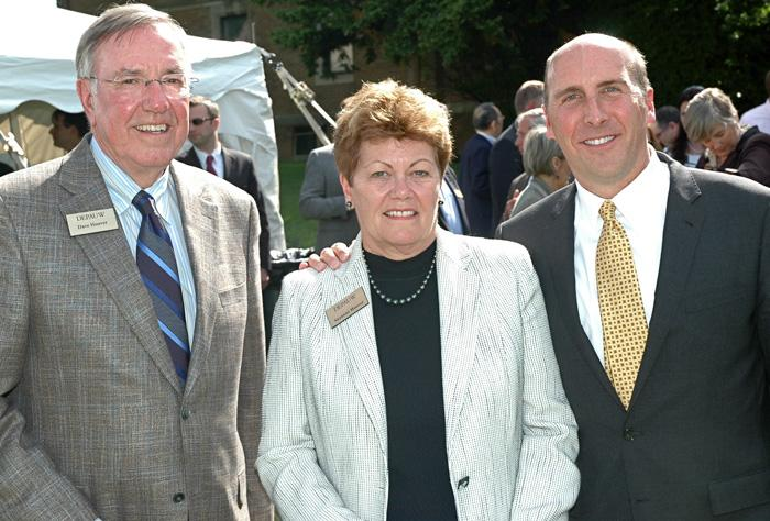 From left: R. David Hoover, Suzanne Hoover and DePauw University President Brian W. Casey.
