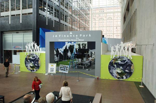 The Junior Achievement Finance Park takes shape in the atrium lobby of 1700 Broadway.