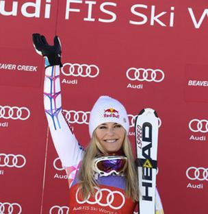 Skier Lindsey Vonn, who races on Head skis, is seen at the podium after her win at the World Cup Super G race in Beaver Creek in December 2011.