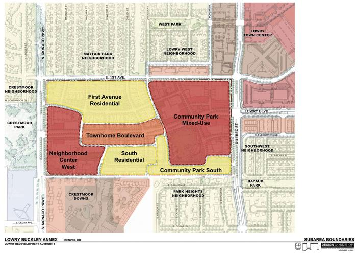 Map shows potential uses for the newest 70-acre parcel to be redeveloped by the Lowry Redevelopment Authority.