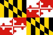 State flag: MarylandLooking like a mashup of a racing banner and something that might hang over King Arthur's Round Table, the Maryland flag features the centuries-old arms of the Calvert and Crossland families (George Calvert was the first Lord Baltimore and Crossland was his mother's family).