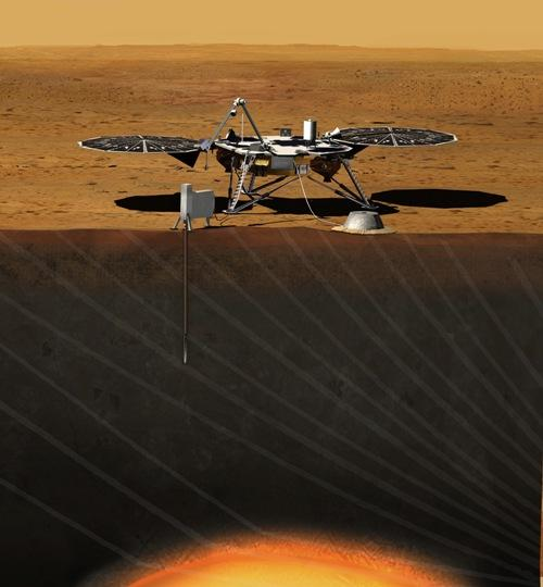 An artist rendition of the InSight lander, which will use sophisticated geophysical instruments to study the interior of Mars.