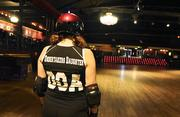 Meghan Dougherty of Dougherty Relations is a Rocky Mountain Rollergirl  as the Undertaker's Daughter.  Here she skates at Denver's Fillmore  Auditorium where the bouts are scheduled.
