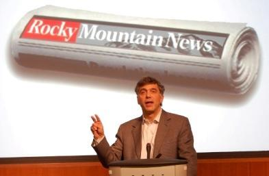 John Temple in February 2009, announcing the closure of the Rocky Mountain News.