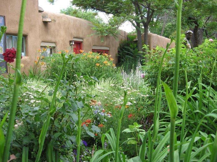 A garden in Santa Fe's Canyon Road Arts District.