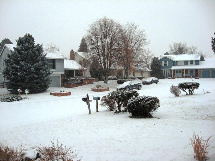 Snow falls in a Centennial neighborhood.