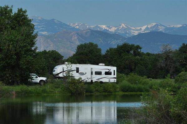 A camper at St. Vrain State Park