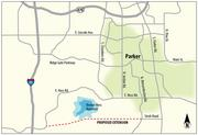 Map shows route of proposed extension of East Stroh Road, south of Parker, to Interstate 25. The project could lure $7.1billion in economic development, according to an investor group hoping to build the road.