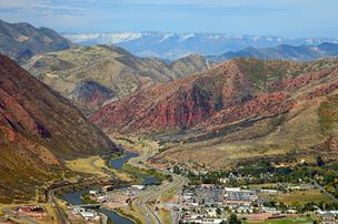 An aerial view of the Colorado River at Glenwood Springs, looking west.