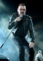U2 singer Bono performs.