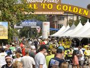 The USA Pro Challenge starts stage 6 in downtown Golden Saturday morning.