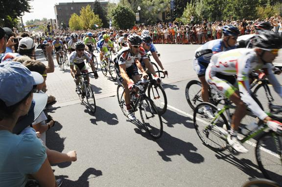 Competitors in last year's USA Pro Challenge race through Golden.