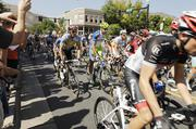 Downtown Golden, at the corners of Washington Avenue and 10th Street, is packed  Saturday morning for the start of stage 6 of the USA Pro Challenge.