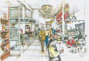 Artist's rendering of Union Station Neighborhood Co.'s concept for a food emporium inside Denver Union Station.