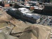 A September 2011 aerial view of work underway surrounding Denver Union Station.