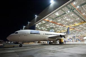United Airlines' first 787 Dreamliner rolls out of the Boeing assembly plant in Everett, Wash., on Wednesday, Oct. 12.