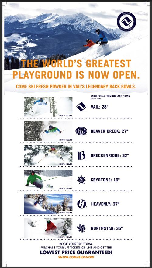 Vail Resorts placed this full page ad in the Wall Street Journal on Tuesday.