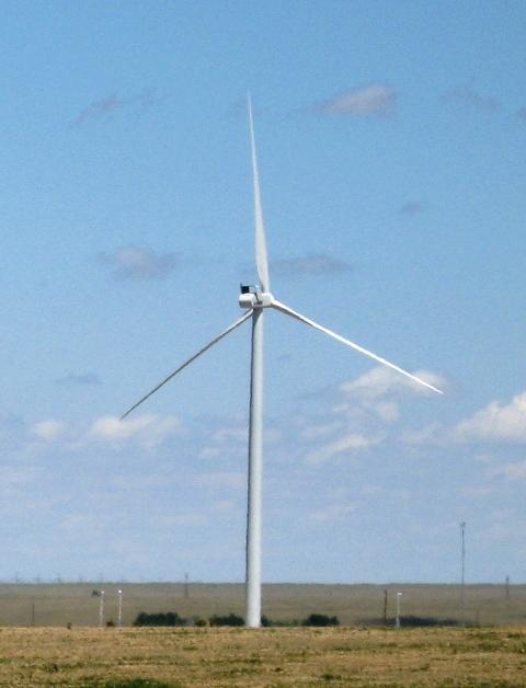 A Vestas wind turbine near its factory in Pueblo.