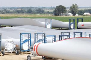 Parts for wind turbine blades at Vestas' plant in Windsor.