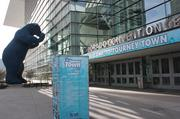 The Colorado Convention Center decked out in its Tourney Town signage.