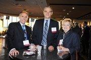 Greg Leonard, Grand Hyatt; Ed Bucholtz, Hyatt Regency; and Bette Matkowski, Johnson & Wales University; gather at the VIP reception for the DBJ's Connections 2011-2012 event at the Pepsi Center.
