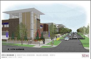 An artist's rendition of the Walmart store proposed for the former campus of the University of Colorado Hospital in Denver.