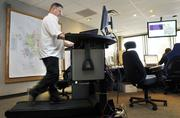 Denver Water ranked No. 2 in the x-large-size business category.Kevin Kenefick, a Denver Water employee, uses a treadmill workstation in an office area. The treadmill workstations allow employees to stretch their legs and exercise while still working.