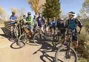 Epilog Laser's group of cyclists. Employees often mountain bike and road bike at lunch. The office is located in Golden.