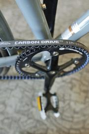Gates' carbon drive belt in their on-site fitness center at 1515 Wewatta.