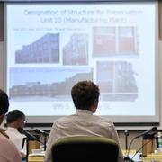 Eugene Elliott, a senior at the University of Colorado Boulder, filed a  document with the city of Denver in a bid to save the old Gates factory  buildings from demolition. Here Elliott talks to Denver's Landmark  Preservation Commission. They deemed Elliott's application complete, and  made plans to hold a public hearing on the landmark designation Sept.  4, then make a recommendation to the Denver City Council.