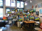 """The HealthCare Initiative participated in a quarterly teambuilding event at a """"paint your own picture"""" shop. Three team members were assigned to pick something they thought everyone would enjoy. Some (including president, Sean Milius) were skeptical but it turned out reportedly to be a good time for all."""