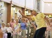 """""""Conductorcise"""" with Maestro David Dworkin at Holly Creek Retirement Community. June 2011"""
