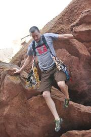 Micah Day, owner of Hummingbird Mountain Gear, gives his products a test run.