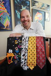 Jack Tanner's collection of animated art is carried over into his assortment of decorative neckties.