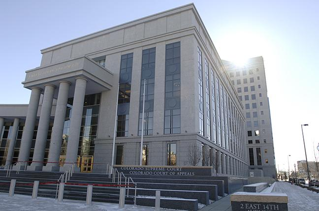 The Ralph L. Carr Colorado Judicial Center in downtown Denver, home of the Colorado Supreme Court.