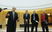John Suthers, attorney general of Colorado, speaks at a media tour of the Ralph L. Carr Colorado Judicial Center. With him are Michael Bender, chief justice; Bill Moser, director of Trammell Crow Co., and Curt Fentress, principal-in-charge of design at Fentress Architects. The building was designed by Fentress Architects, built by Mortensen Construction and the project was managed by Trammell Crow Co.
