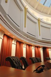 A courtroom in The Ralph L. Carr Colorado Judicial Center. The Supreme Court, Court of Appeals, Supreme Court Library and Office of the State Court Administrator move into the building on Dec. 15-16.