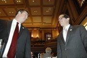 Rep. Frank McNulty hands off the speaker duties to Rep. Mark Ferrandino on opening day of the Legislature.