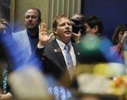 Rep. Brian DelGrosso, R-Larimer is sworn in on opening day of the Legislature.