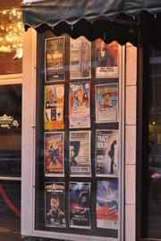 Event posters outside demonstrate the wide variety of entertainment.