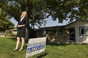 Brittany Pettersen, candidate for House District 28, stands in the front yard of her house in Lakewood which also serves as campaign headquarters. Pettersen beat out Amy Attwood.September 2012