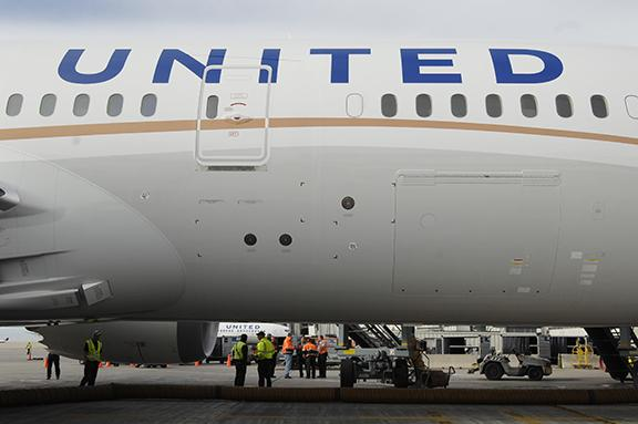 A United Airlines jet at Denver International Airport.