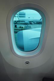 United's new Boeing 787 Dreamliner has windows that can be dimmed.